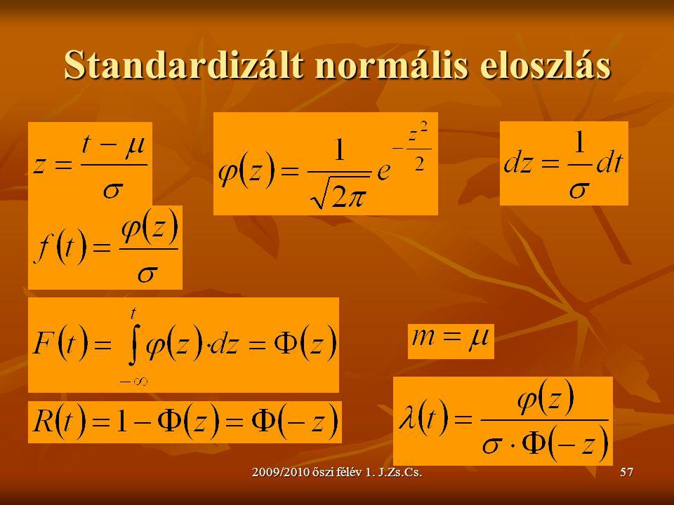 2009/2010 őszi félév 1. J.Zs.Cs.57 Standardizált normális eloszlás