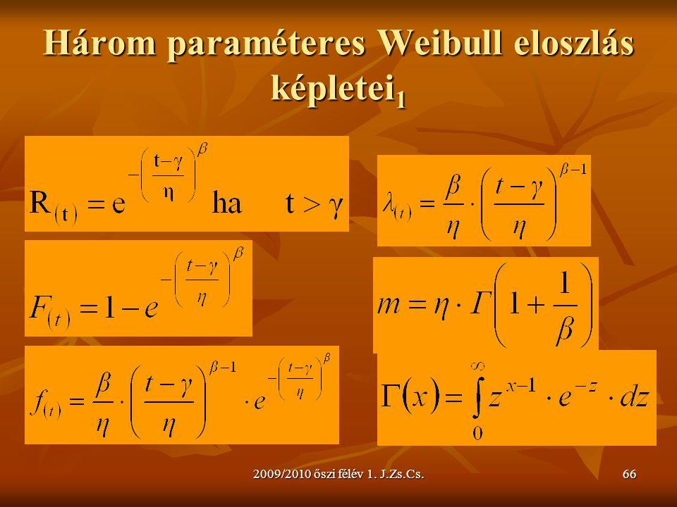 2009/2010 őszi félév 1. J.Zs.Cs.66 Három paraméteres Weibull eloszlás képletei 1