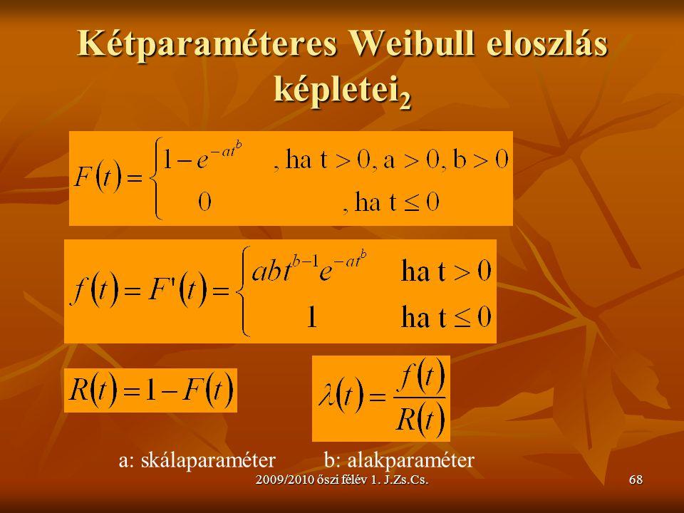 2009/2010 őszi félév 1. J.Zs.Cs.68 Kétparaméteres Weibull eloszlás képletei 2 a: skálaparaméterb: alakparaméter