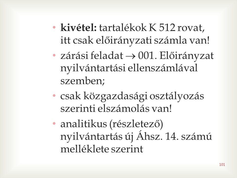 101 • kivétel: tartalékok K 512 rovat, itt csak előirányzati számla van! • zárási feladat  001. Előirányzat nyilvántartási ellenszámlával szemben; •