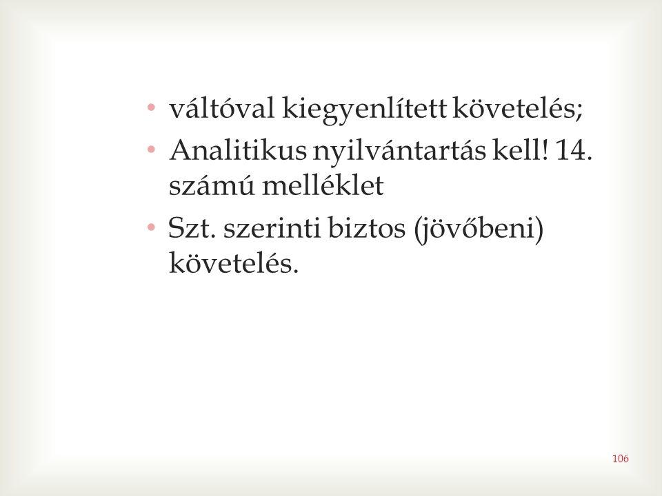 106 • váltóval kiegyenlített követelés; • Analitikus nyilvántartás kell! 14. számú melléklet • Szt. szerinti biztos (jövőbeni) követelés.