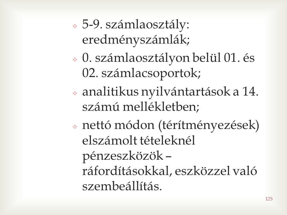 125  5-9. számlaosztály: eredményszámlák;  0. számlaosztályon belül 01. és 02. számlacsoportok;  analitikus nyilvántartások a 14. számú mellékletbe
