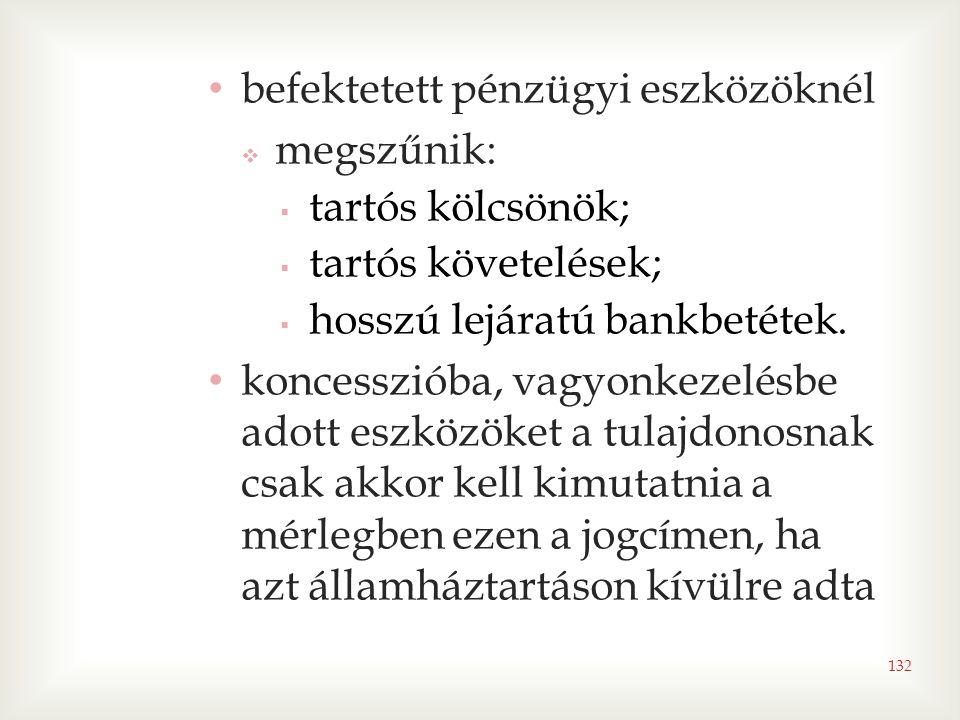 132 • befektetett pénzügyi eszközöknél  megszűnik:  tartós kölcsönök;  tartós követelések;  hosszú lejáratú bankbetétek. • koncesszióba, vagyonkez