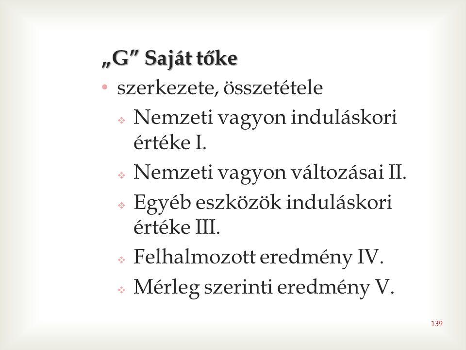 """139 """"G Saját tőke • szerkezete, összetétele  Nemzeti vagyon induláskori értéke I."""