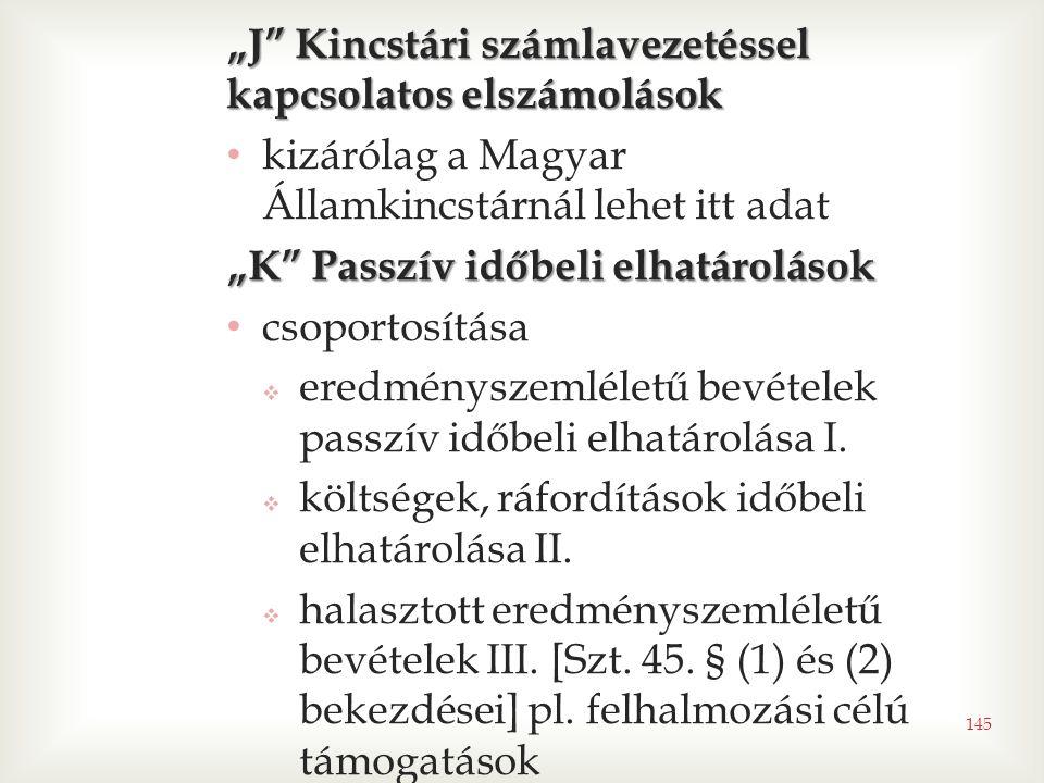 """145 """"J"""" Kincstári számlavezetéssel kapcsolatos elszámolások • kizárólag a Magyar Államkincstárnál lehet itt adat """"K"""" Passzív időbeli elhatárolások • c"""