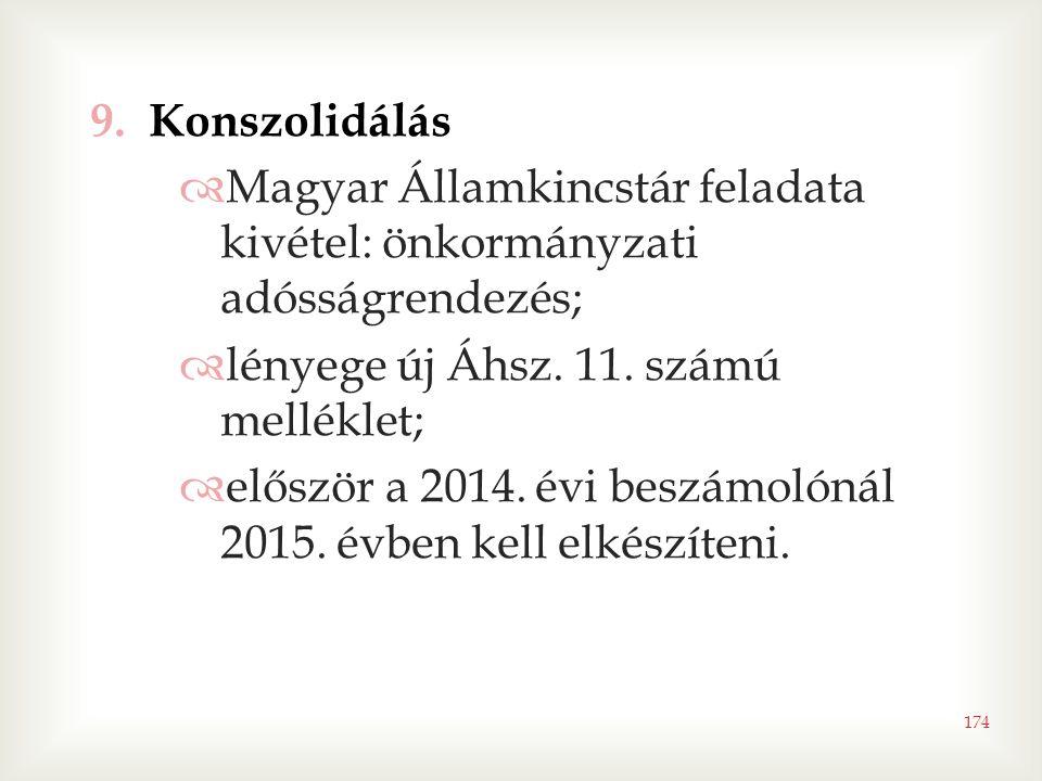 174 9.Konszolidálás  Magyar Államkincstár feladata kivétel: önkormányzati adósságrendezés;  lényege új Áhsz. 11. számú melléklet;  először a 2014.