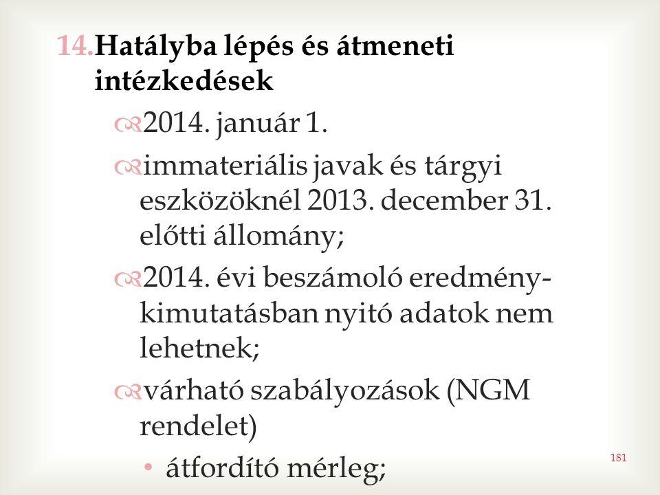 181 14.Hatályba lépés és átmeneti intézkedések  2014. január 1.  immateriális javak és tárgyi eszközöknél 2013. december 31. előtti állomány;  2014
