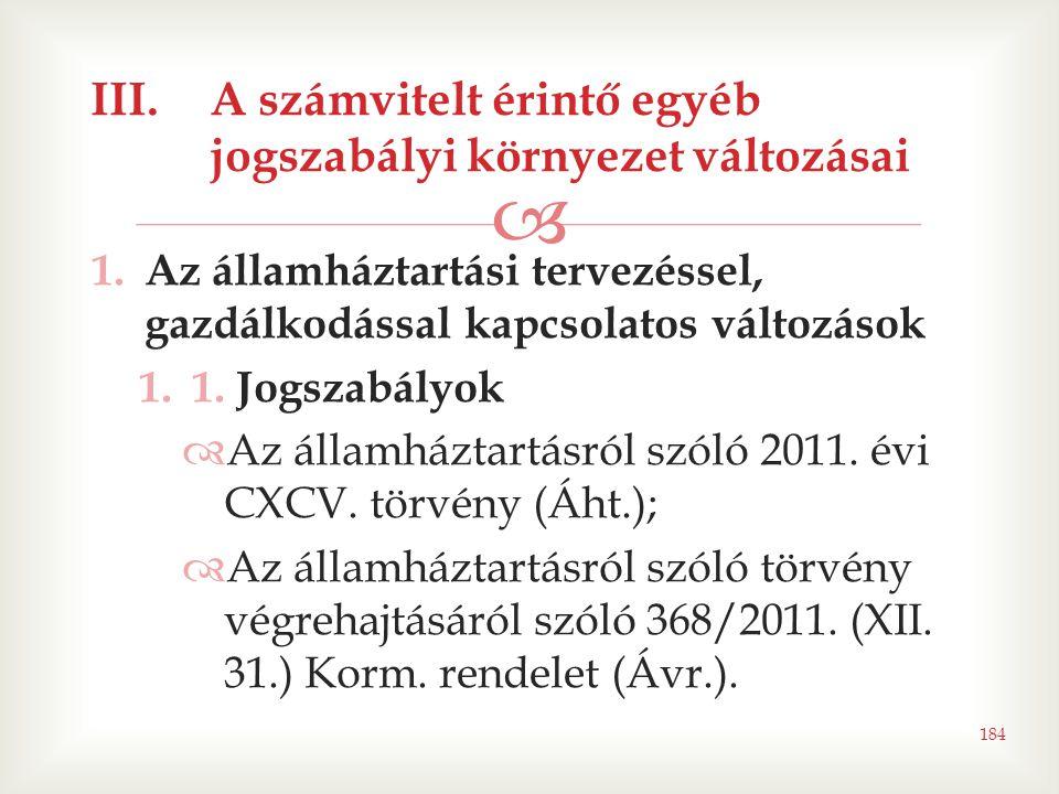  1.Az államháztartási tervezéssel, gazdálkodással kapcsolatos változások 1.1. Jogszabályok  Az államháztartásról szóló 2011. évi CXCV. törvény (Áht.