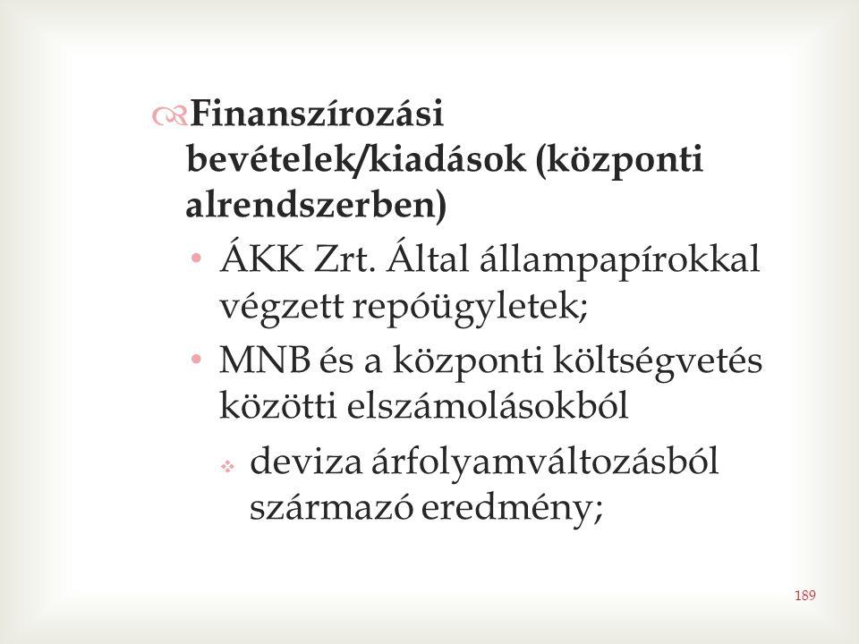 189  Finanszírozási bevételek/kiadások (központi alrendszerben) • ÁKK Zrt. Által állampapírokkal végzett repóügyletek; • MNB és a központi költségvet