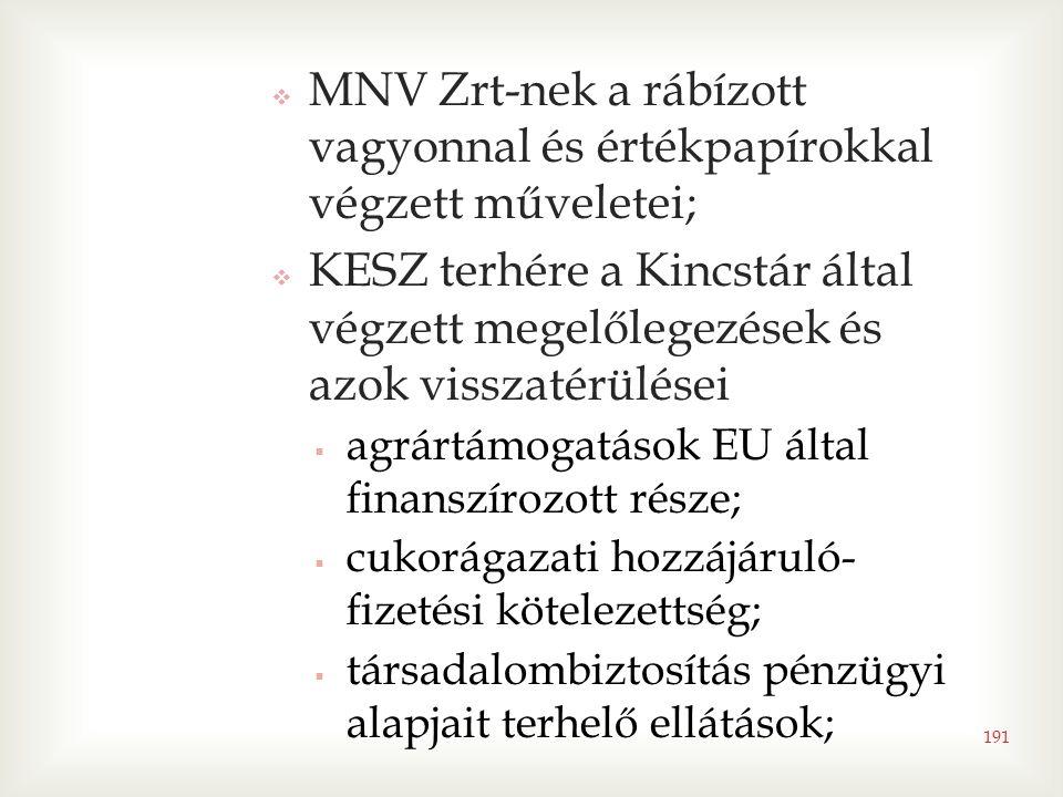 191  MNV Zrt-nek a rábízott vagyonnal és értékpapírokkal végzett műveletei;  KESZ terhére a Kincstár által végzett megelőlegezések és azok visszatérülései  agrártámogatások EU által finanszírozott része;  cukorágazati hozzájáruló- fizetési kötelezettség;  társadalombiztosítás pénzügyi alapjait terhelő ellátások;