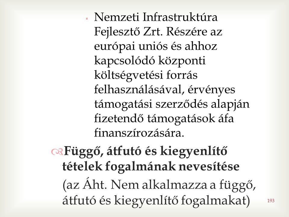 193  Nemzeti Infrastruktúra Fejlesztő Zrt. Részére az európai uniós és ahhoz kapcsolódó központi költségvetési forrás felhasználásával, érvényes támo
