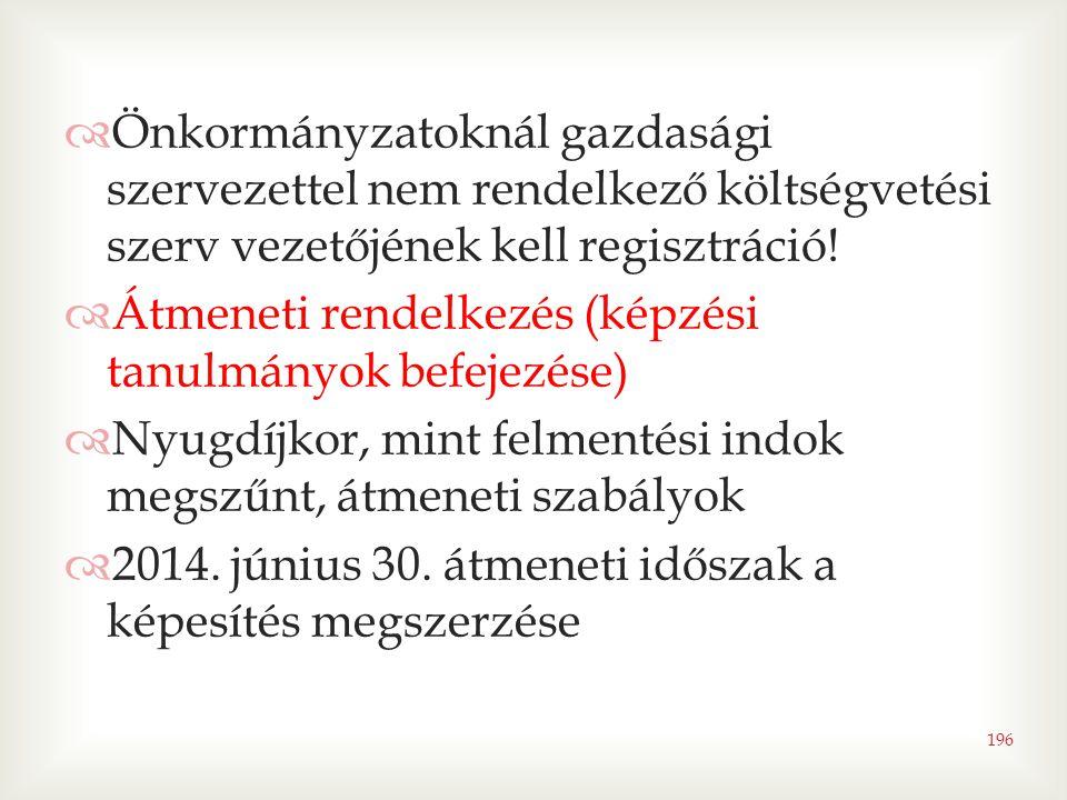 196  Önkormányzatoknál gazdasági szervezettel nem rendelkező költségvetési szerv vezetőjének kell regisztráció!  Átmeneti rendelkezés (képzési tanul
