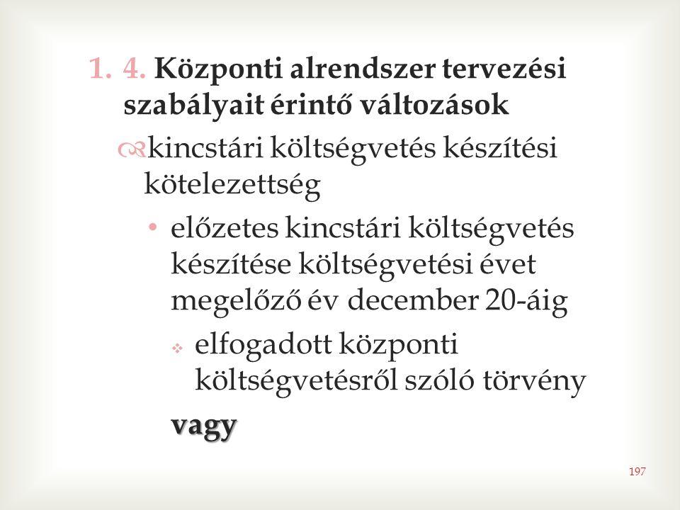 1.4. Központi alrendszer tervezési szabályait érintő változások  kincstári költségvetés készítési kötelezettség • előzetes kincstári költségvetés kés