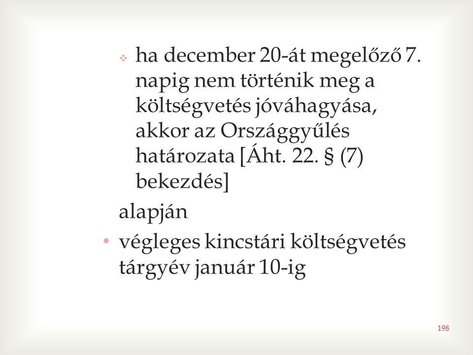  ha december 20-át megelőző 7. napig nem történik meg a költségvetés jóváhagyása, akkor az Országgyűlés határozata [Áht. 22. § (7) bekezdés] alapján