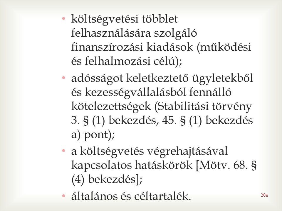 • költségvetési többlet felhasználására szolgáló finanszírozási kiadások (működési és felhalmozási célú); • adósságot keletkeztető ügyletekből és kezességvállalásból fennálló kötelezettségek (Stabilitási törvény 3.