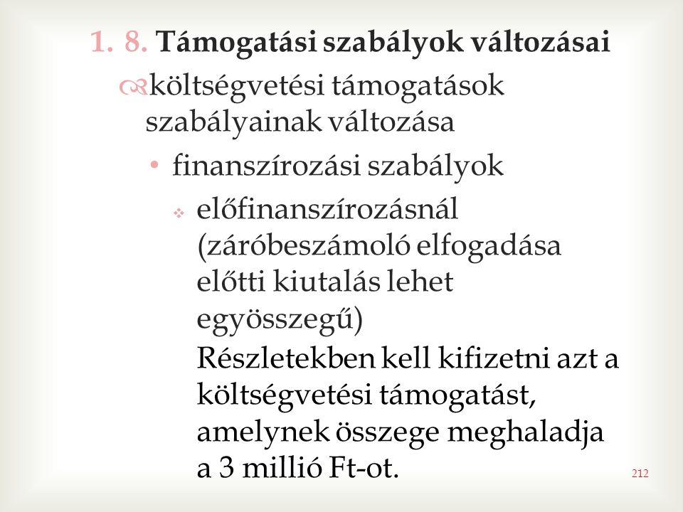 1.8. Támogatási szabályok változásai  költségvetési támogatások szabályainak változása • finanszírozási szabályok  előfinanszírozásnál (záróbeszámol