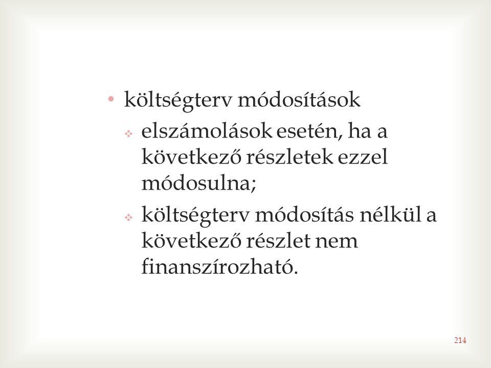 • költségterv módosítások  elszámolások esetén, ha a következő részletek ezzel módosulna;  költségterv módosítás nélkül a következő részlet nem finanszírozható.