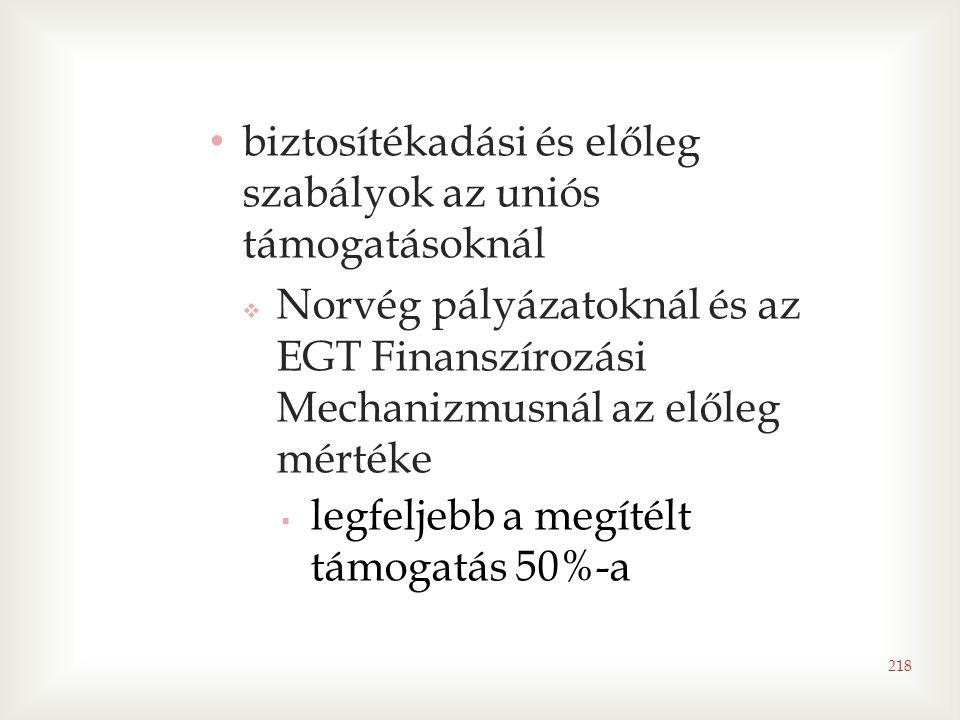 • biztosítékadási és előleg szabályok az uniós támogatásoknál  Norvég pályázatoknál és az EGT Finanszírozási Mechanizmusnál az előleg mértéke  legfeljebb a megítélt támogatás 50%-a 218
