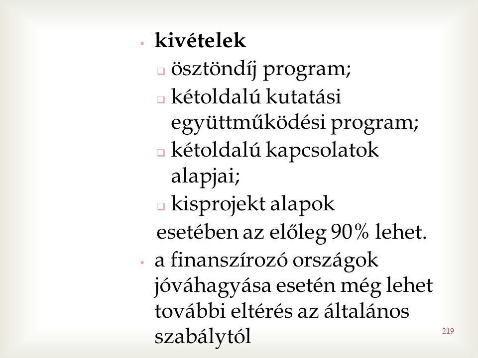 kivételek  ösztöndíj program;  kétoldalú kutatási együttműködési program;  kétoldalú kapcsolatok alapjai;  kisprojekt alapok esetében az előleg