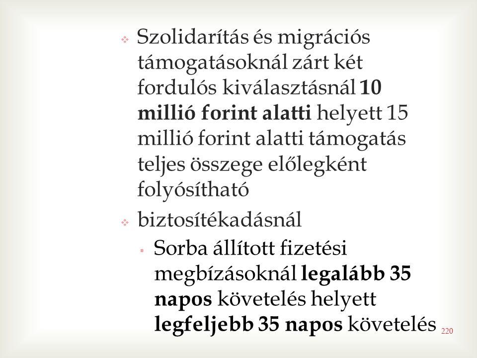  Szolidarítás és migrációs támogatásoknál zárt két fordulós kiválasztásnál 10 millió forint alatti helyett 15 millió forint alatti támogatás teljes összege előlegként folyósítható  biztosítékadásnál  Sorba állított fizetési megbízásoknál legalább 35 napos követelés helyett legfeljebb 35 napos követelés 220