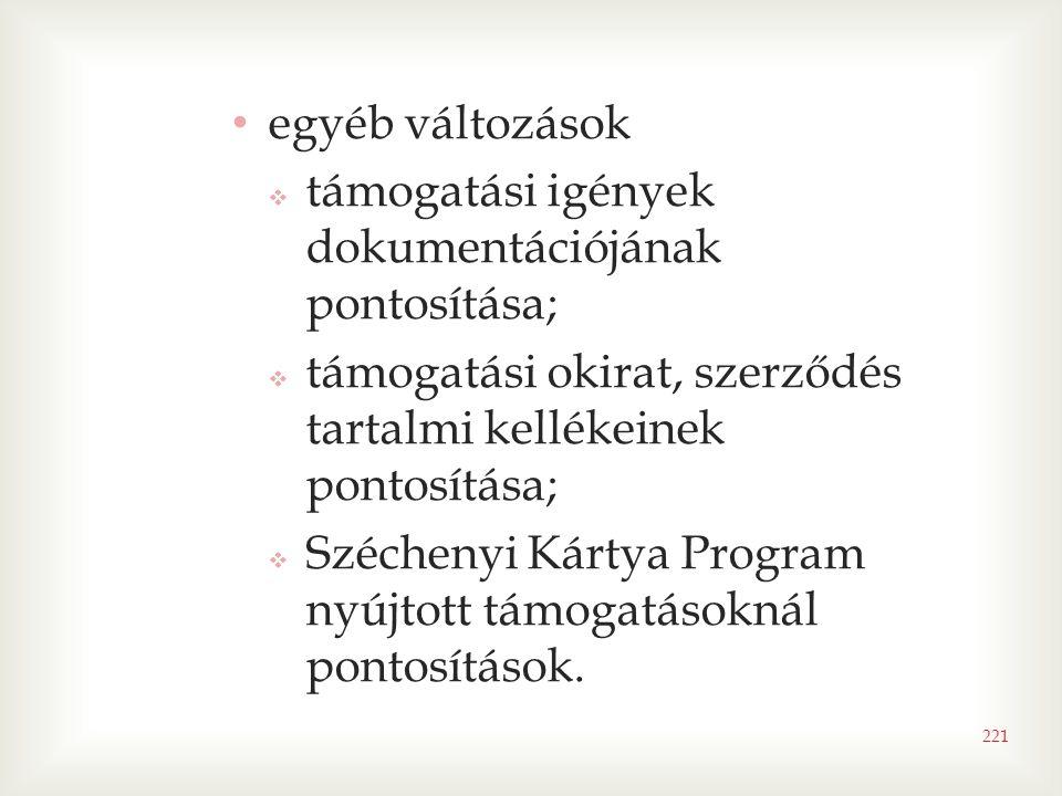 • egyéb változások  támogatási igények dokumentációjának pontosítása;  támogatási okirat, szerződés tartalmi kellékeinek pontosítása;  Széchenyi Kártya Program nyújtott támogatásoknál pontosítások.