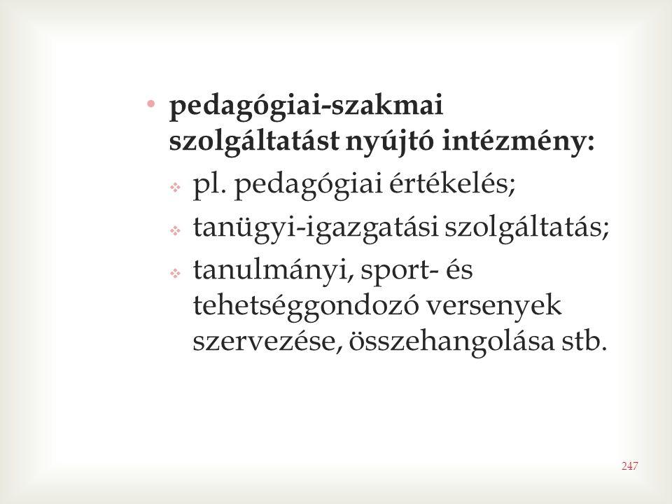 247 • pedagógiai-szakmai szolgáltatást nyújtó intézmény:  pl. pedagógiai értékelés;  tanügyi-igazgatási szolgáltatás;  tanulmányi, sport- és tehets