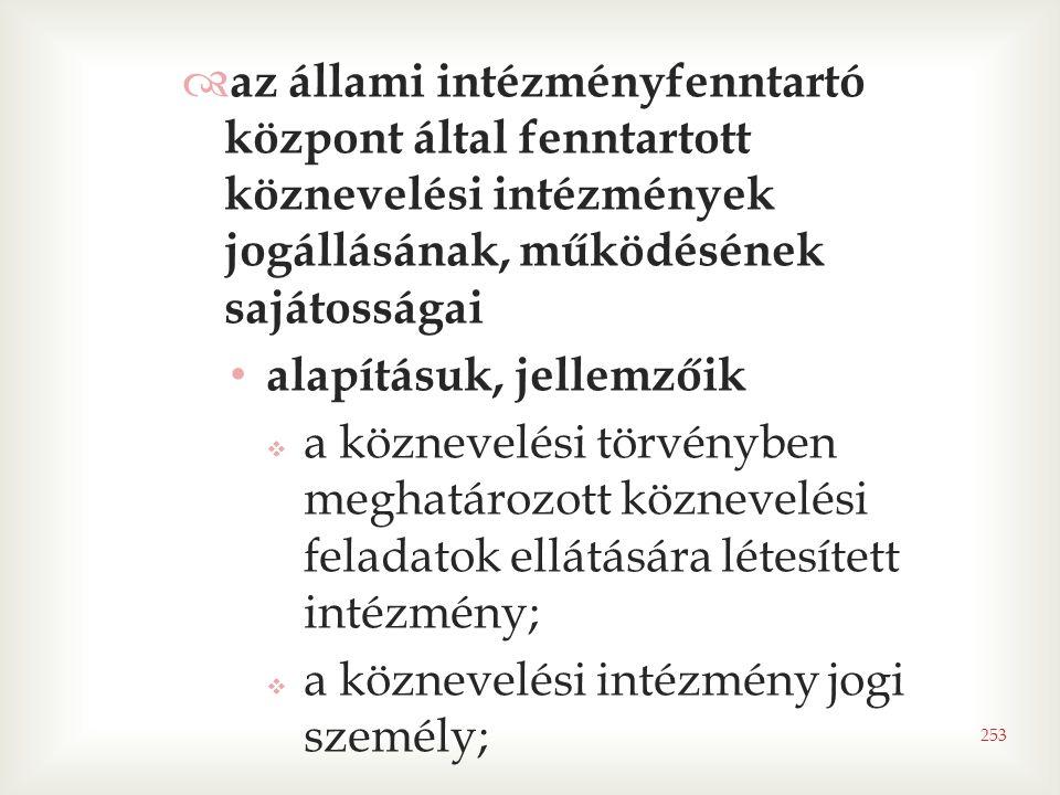 253  az állami intézményfenntartó központ által fenntartott köznevelési intézmények jogállásának, működésének sajátosságai • alapításuk, jellemzőik 
