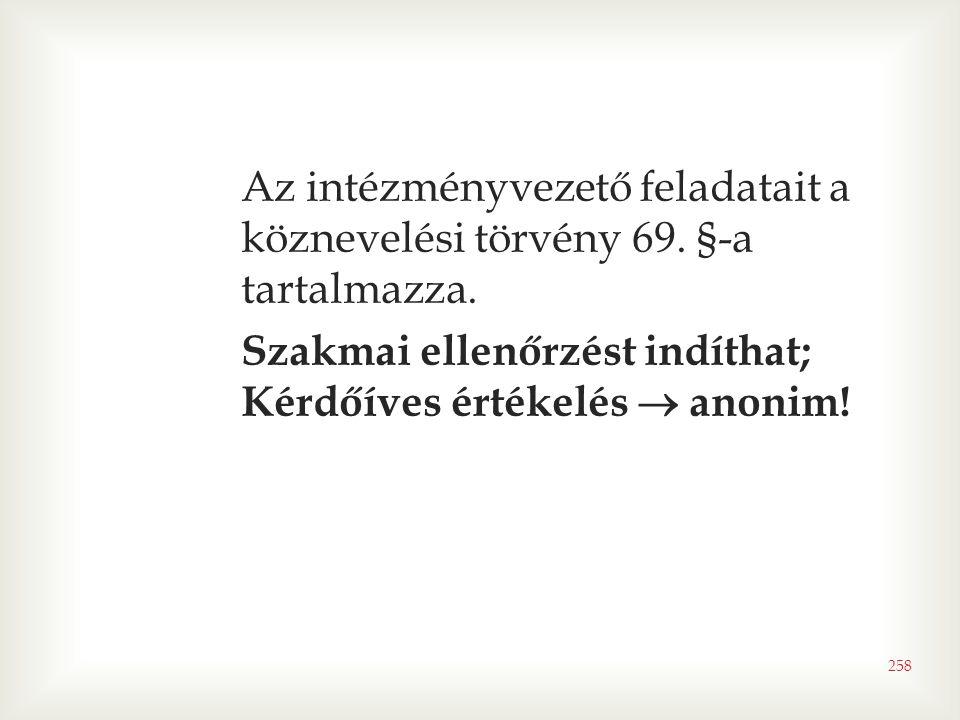 258 Az intézményvezető feladatait a köznevelési törvény 69. §-a tartalmazza. Szakmai ellenőrzést indíthat; Kérdőíves értékelés  anonim!