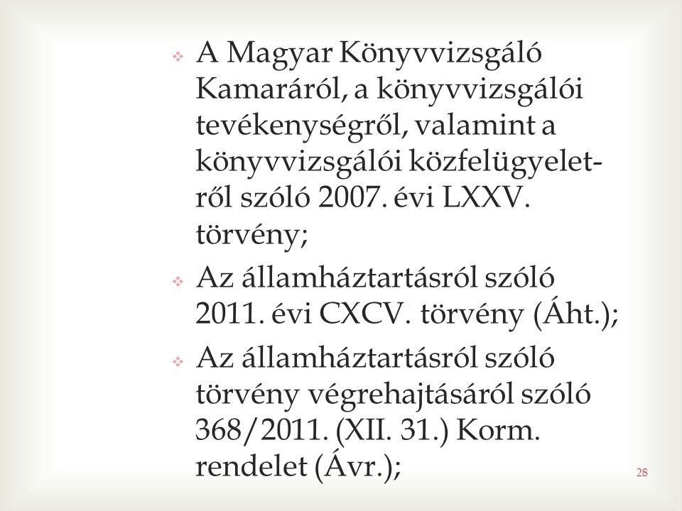 28  A Magyar Könyvvizsgáló Kamaráról, a könyvvizsgálói tevékenységről, valamint a könyvvizsgálói közfelügyelet- ről szóló 2007. évi LXXV. törvény; 
