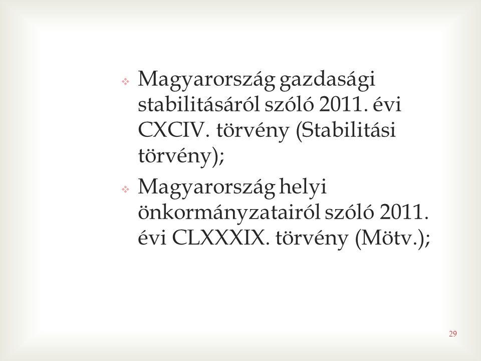 29  Magyarország gazdasági stabilitásáról szóló 2011. évi CXCIV. törvény (Stabilitási törvény);  Magyarország helyi önkormányzatairól szóló 2011. év