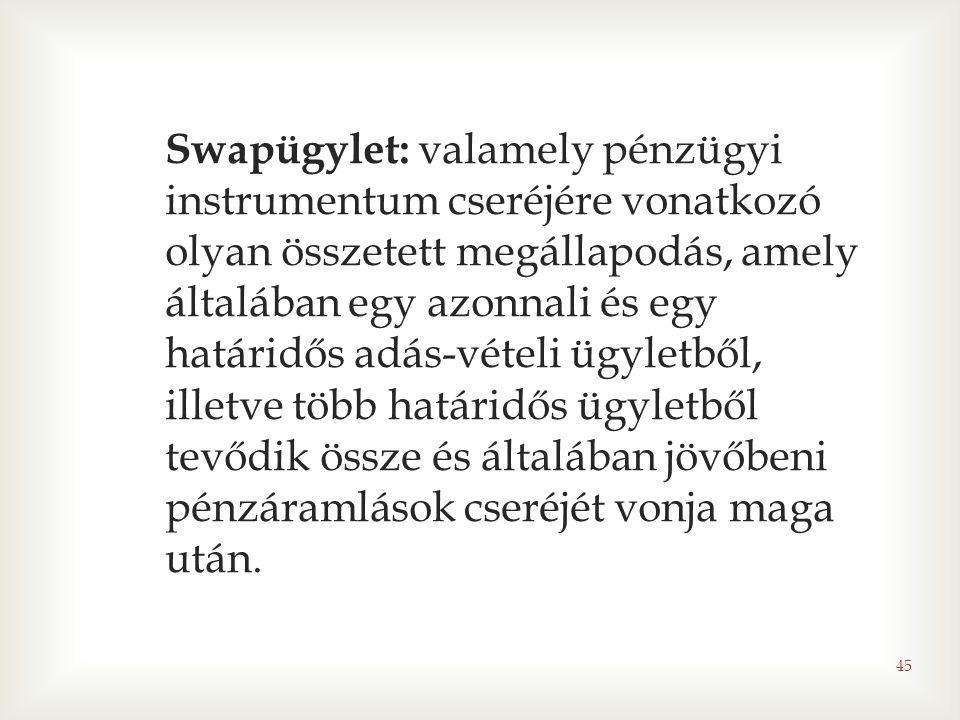 45 Swapügylet: valamely pénzügyi instrumentum cseréjére vonatkozó olyan összetett megállapodás, amely általában egy azonnali és egy határidős adás-vét