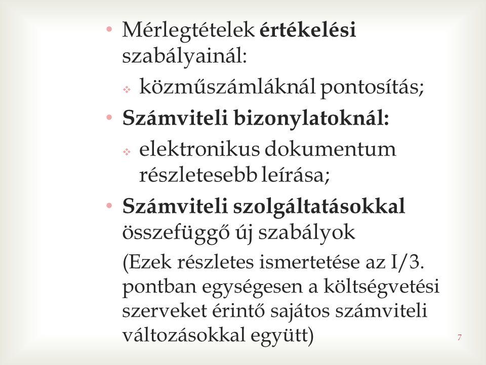 • Mérlegtételek értékelési szabályainál:  közműszámláknál pontosítás; • Számviteli bizonylatoknál:  elektronikus dokumentum részletesebb leírása; • Számviteli szolgáltatásokkal összefüggő új szabályok (Ezek részletes ismertetése az I/3.