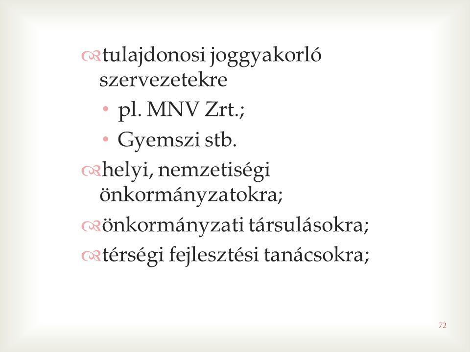 72  tulajdonosi joggyakorló szervezetekre • pl. MNV Zrt.; • Gyemszi stb.  helyi, nemzetiségi önkormányzatokra;  önkormányzati társulásokra;  térsé