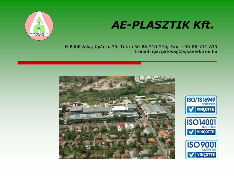 H-8400 Ajka, Gyár u. 35. Tel.: +36-88-510-510, Fax: +36-88-211-815 E-mail: igazgatosag@ajkaelektron.hu AE-PLASZTIK Kft. AE- PLASZTIK