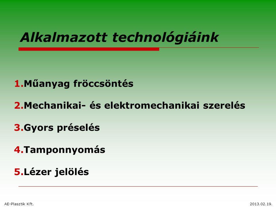 Alkalmazott technológiáink 1.Műanyag fröccsöntés 2.Mechanikai- és elektromechanikai szerelés 3.Gyors préselés 4.Tamponnyomás 5.Lézer jelölés AE-Plaszt