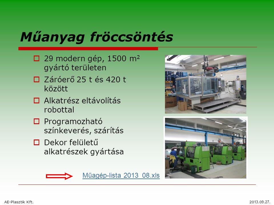 Műanyag fröccsöntés  2 9 modern gép, 1500 m 2 gyártó területen  Záróerő 25 t és 420 t között  Alkatrész eltávolítás robottal  Programozható színke