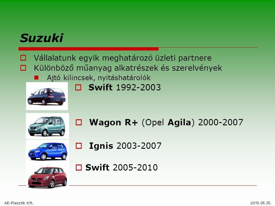 Suzuki  Vállalatunk egyik meghatározó üzleti partnere  Különböző műanyag alkatrészek és szerelvények  Ajtó kilincsek, nyitáshatárolók  Swift 1992-