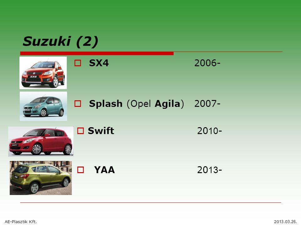 Suzuki (2)  SX42006-  Splash (Opel Agila) 2007-  Swift 20 10 - AE-Plasztik Kft.20 13.0 3. 26.  YAA 20 13 -