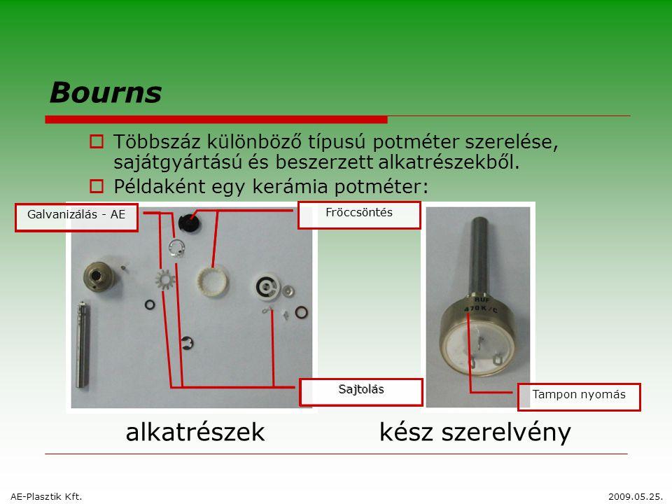 Fröccsöntés Sajtolás Galvanizálás - AE Bourns  Többszáz különböző típusú potméter szerelése, sajátgyártású és beszerzett alkatrészekből.  Példaként