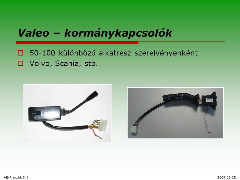 Valeo – kormánykapcsolók  50-100 különböző alkatrész szerelvényenként  Volvo, Scania, stb. AE-Plasztik Kft.2009.05.25.