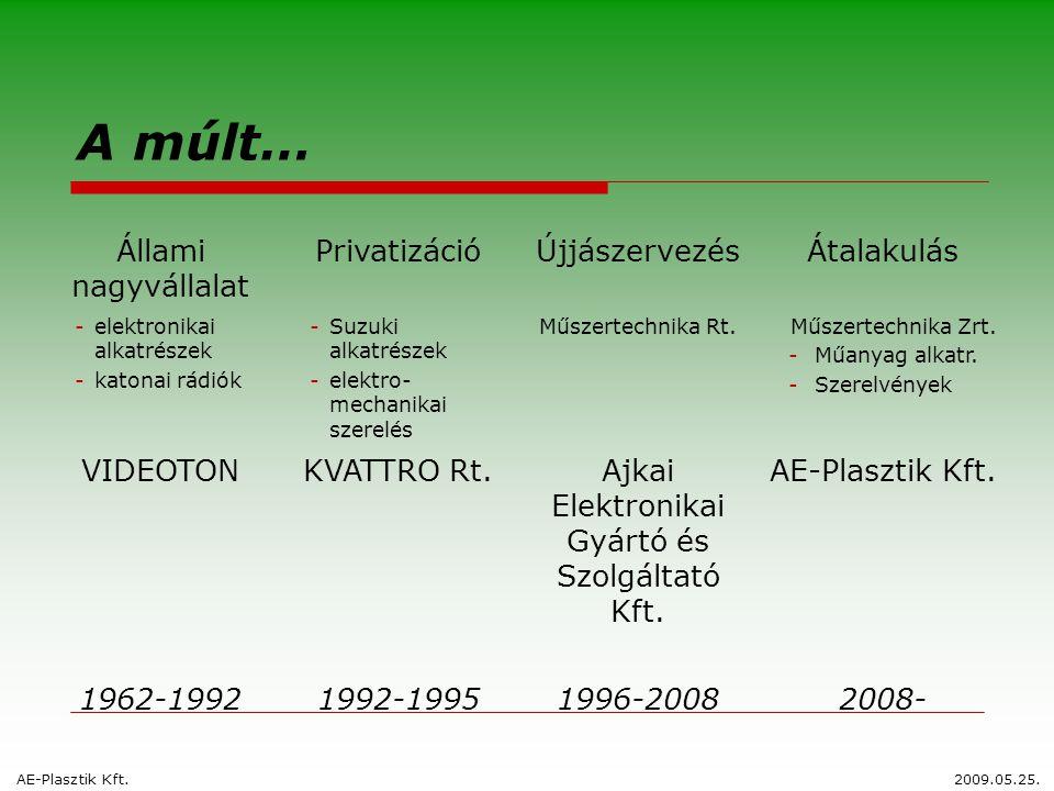 A múlt… Állami nagyvállalat PrivatizációÚjjászervezésÁtalakulás -elektronikai alkatrészek -katonai rádiók -Suzuki alkatrészek -elektro- mechanikai sze