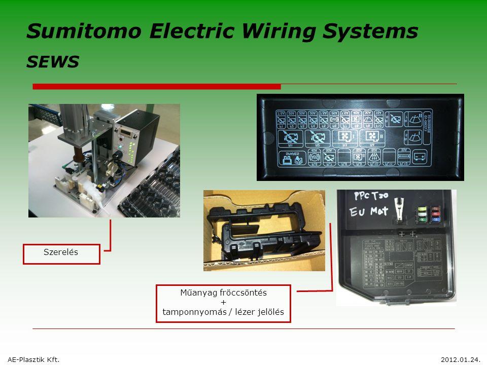 AE-Plasztik Kft.2012.01.24. Sumitomo Electric Wiring Systems SEWS Szerelés Műanyag fröccsöntés + tamponnyomás / lézer jelölés