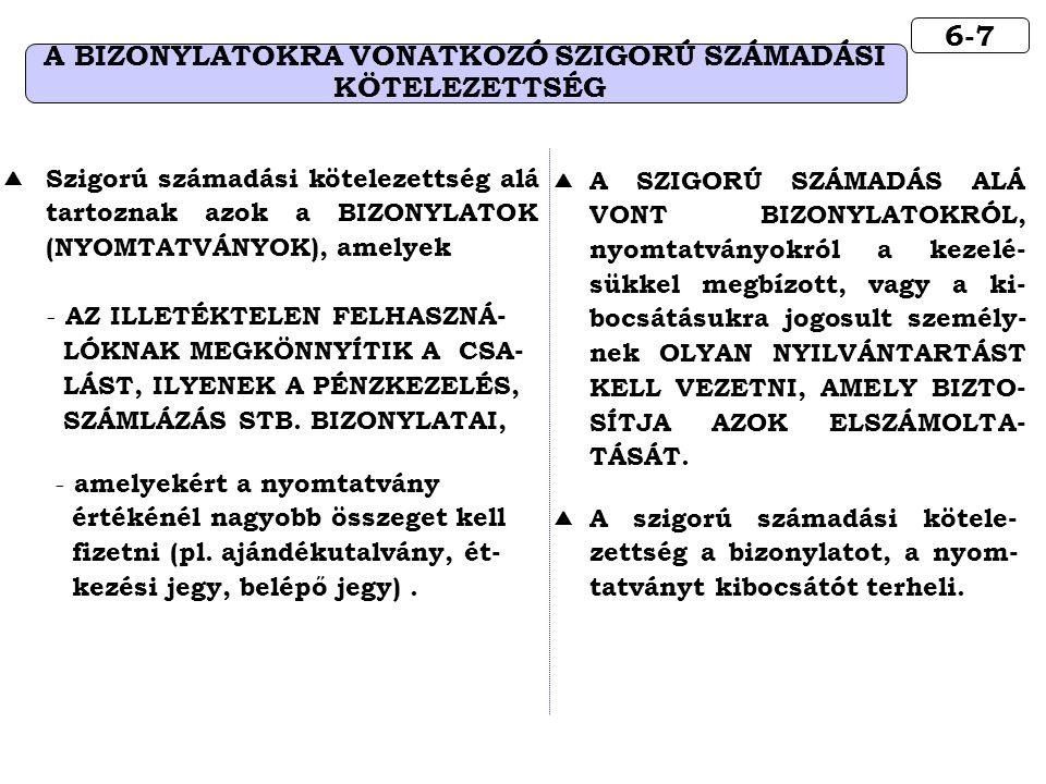 6-7 A BIZONYLATOKRA VONATKOZÓ SZIGORÚ SZÁMADÁSI KÖTELEZETTSÉG  Szigorú számadási kötelezettség alá tartoznak azok a BIZONYLATOK (NYOMTATVÁNYOK), amel