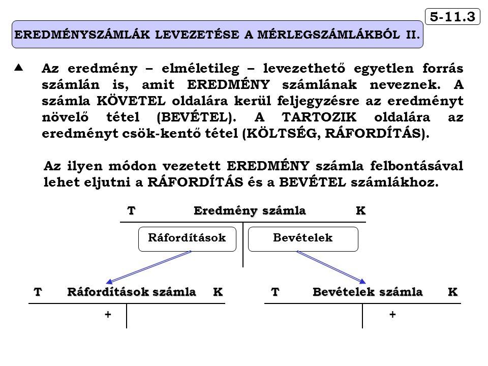 5-11.3 EREDMÉNYSZÁMLÁK LEVEZETÉSE A MÉRLEGSZÁMLÁKBÓL II.  Az eredmény – elméletileg – levezethető egyetlen forrás számlán is, amit EREDMÉNY számlának