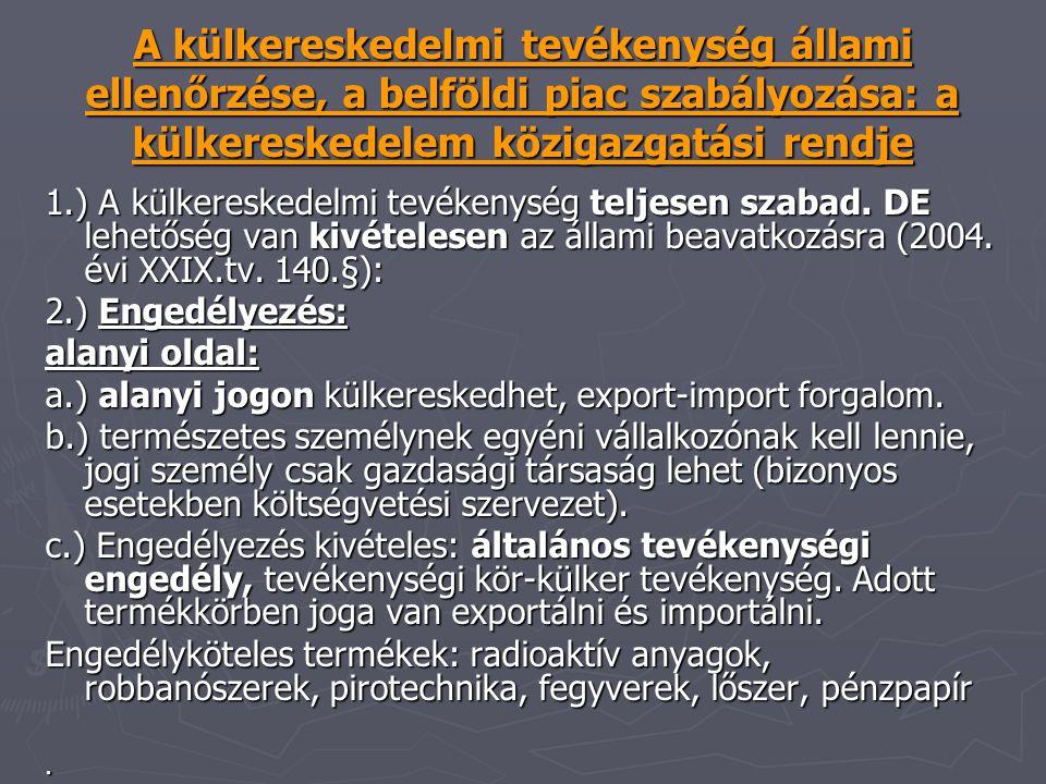 A külkereskedelmi tevékenység állami ellenőrzése, a belföldi piac szabályozása: a külkereskedelem közigazgatási rendje 1.) A külkereskedelmi tevékenys