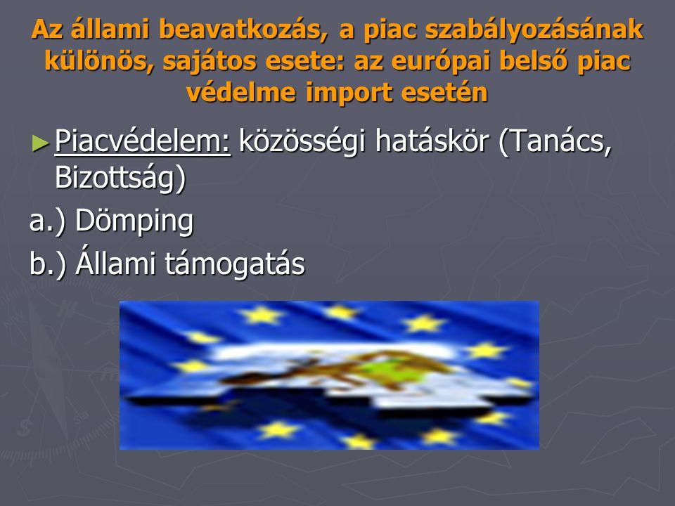 Az állami beavatkozás, a piac szabályozásának különös, sajátos esete: az európai belső piac védelme import esetén ► Piacvédelem: közösségi hatáskör (T