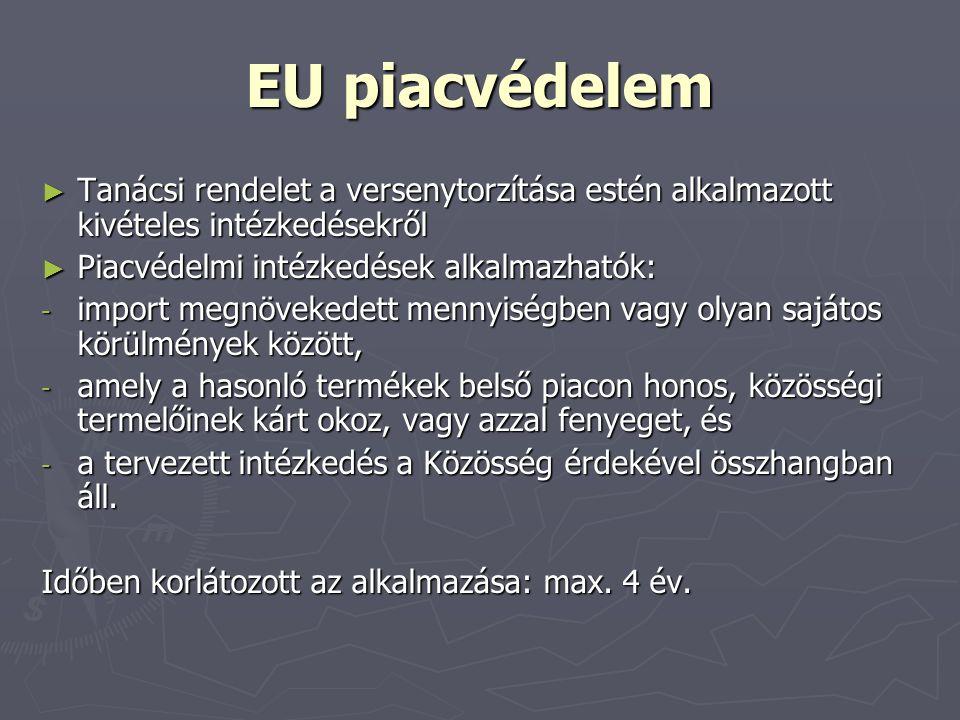 EU piacvédelem ► Tanácsi rendelet a versenytorzítása estén alkalmazott kivételes intézkedésekről ► Piacvédelmi intézkedések alkalmazhatók: - import me