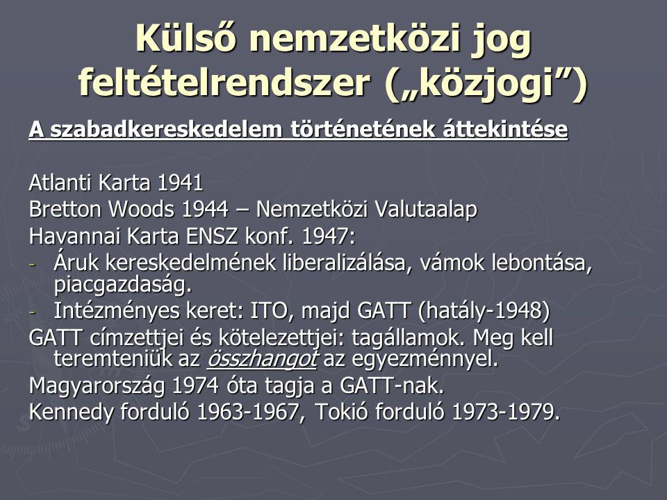 """Külső nemzetközi jog feltételrendszer (""""közjogi"""") A szabadkereskedelem történetének áttekintése Atlanti Karta 1941 Bretton Woods 1944 – Nemzetközi Val"""