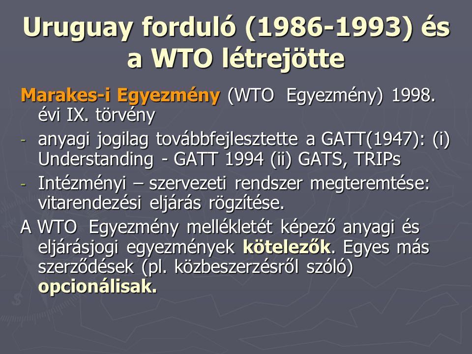 Uruguay forduló (1986-1993) és a WTO létrejötte Marakes-i Egyezmény (WTO Egyezmény) 1998. évi IX. törvény - anyagi jogilag továbbfejlesztette a GATT(1