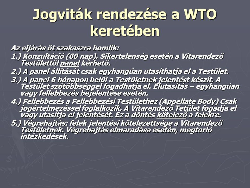 Jogviták rendezése a WTO keretében Az eljárás öt szakaszra bomlik: 1.) Konzultáció (60 nap). Sikertelenség esetén a Vitarendező Testülettől panel kérh